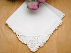 Set of 3 Crochet Lace Pineapple Corner Wedding Handkerchiefs