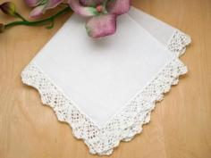 Set of 3 Butterfly Crochet Lace Wedding Handkerchiefs