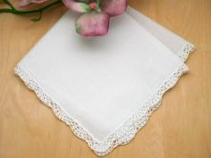 Set of 3 Small Scalloped Crochet Lace Wedding Handkerchiefs