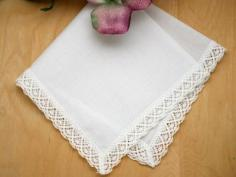 Set of 3 Cathedral Lace Wedding Handkerchiefs