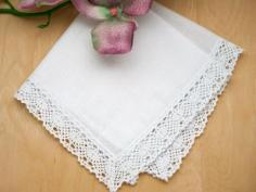 Set of 3 Honeycomb Lace Ladies Handkerchiefs