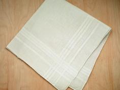 Set of 3 Ivory Mens Handkerchiefs with Satin Stripes