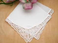 White Starlight German Plauen Lace Ladies Handkerchief