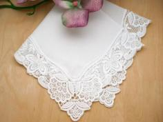 White Blossom German Plauen Lace Ladies Handkerchief