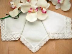 Irish Linen Shamrock Ladies Lace Handkerchief