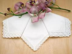 Bridal Set of 3 Different White Lace Wedding Handkerchiefs