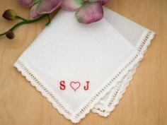 Monogrammed Heart Ladies Handkerchief- Font R