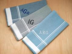 Set of 3 Mixed Blue Gray Monogrammed Mens Handkerchiefs - Font R
