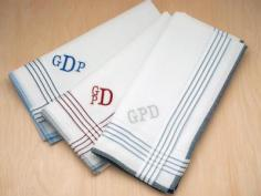 Set of 3 Assorted White Striped Monogrammed Mens Hankies Font R
