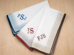 Set of 3 Mixed White Striped Monogrammed Mens Hankies Font R