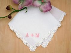 Monogrammed Couples Ladies Handkerchief- Font R