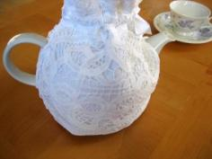 Cotton Teapot Cover with a Battenburg Lace Overlay
