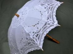 White Cutwork and Battenburg Lace Parasol