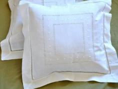 Pair of White Linen Throw Pillow Covers with Embroidered Dots
