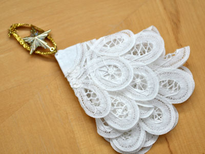 Making a Christmas Tree Ornament From Doilies