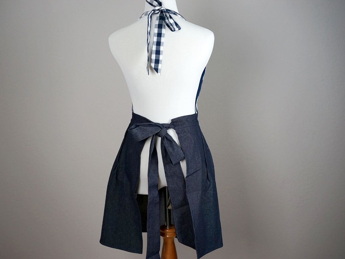 Ladies Navy Gingham Denim Hostess Apron