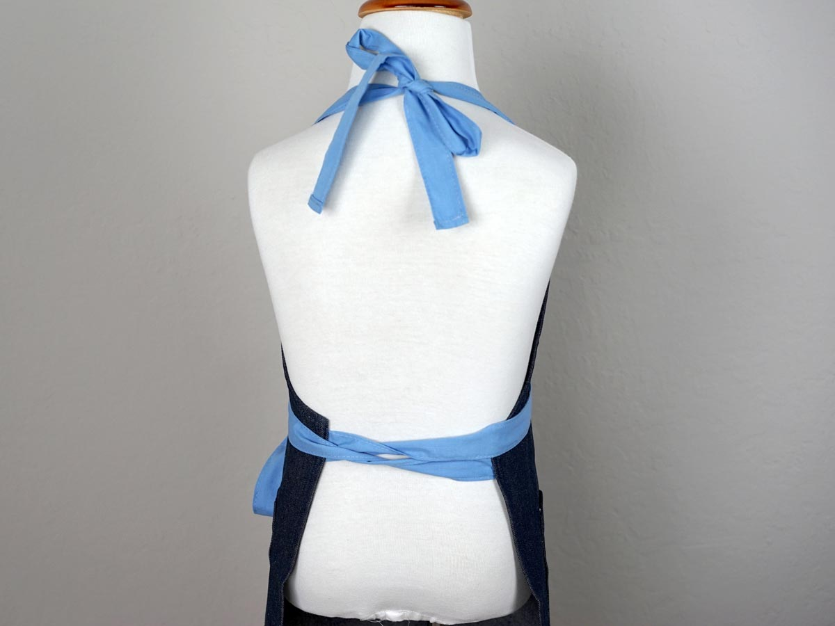 Dark Denim Kids Apron with Light Blue Ties