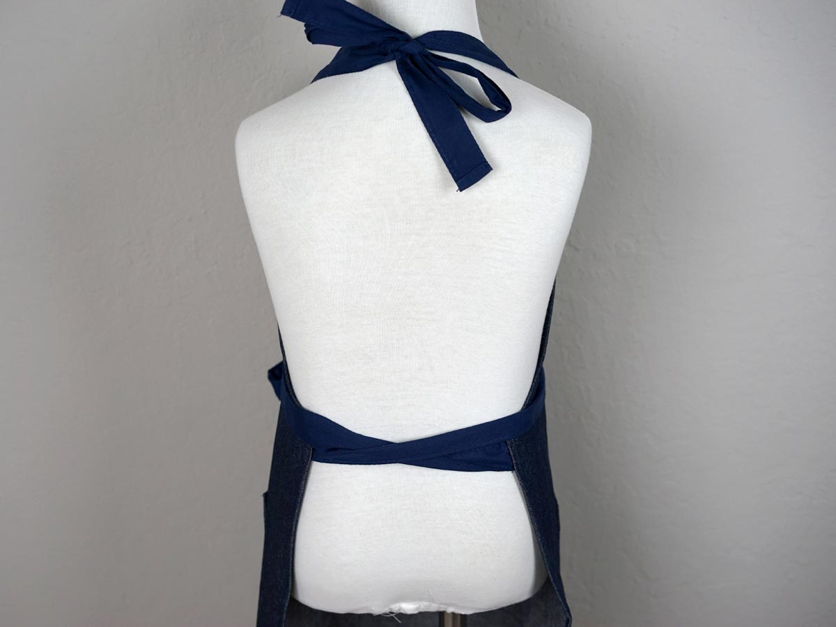 Dark Denim Kids Apron with Navy Ties