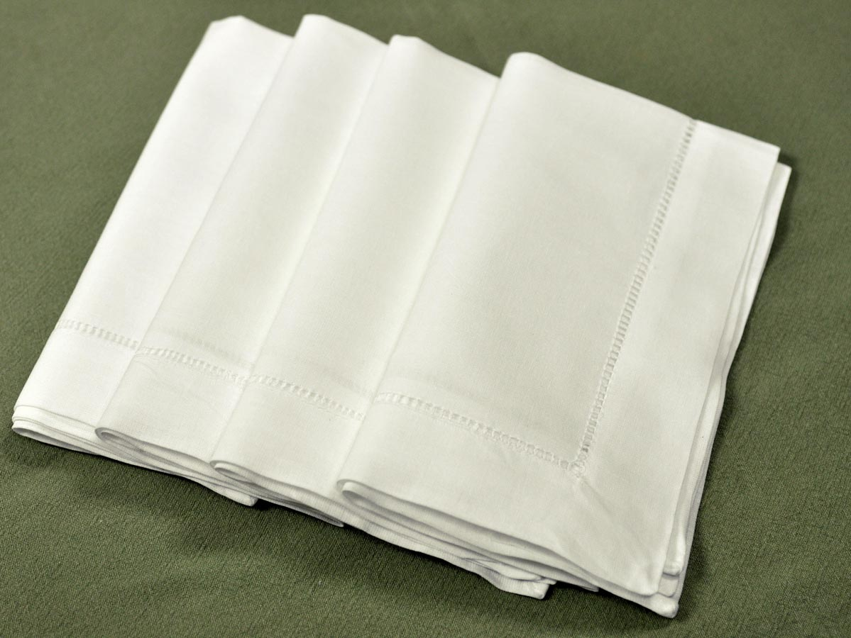 1 dozen ivory hemstitched linen dinner napkins 20 inch for White linen cocktail recipe