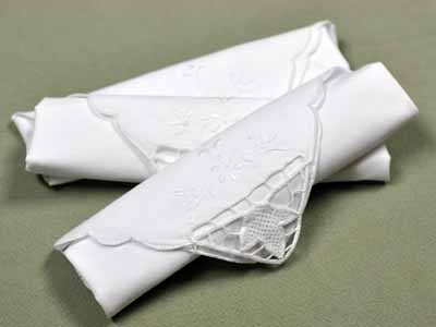 1 Dozen White Autumn Leaf Cutwork Dinner Napkins