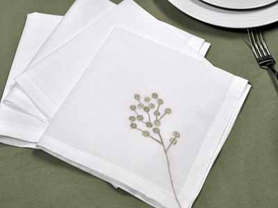 1 Dozen White Botanical Linen Dinner Napkins