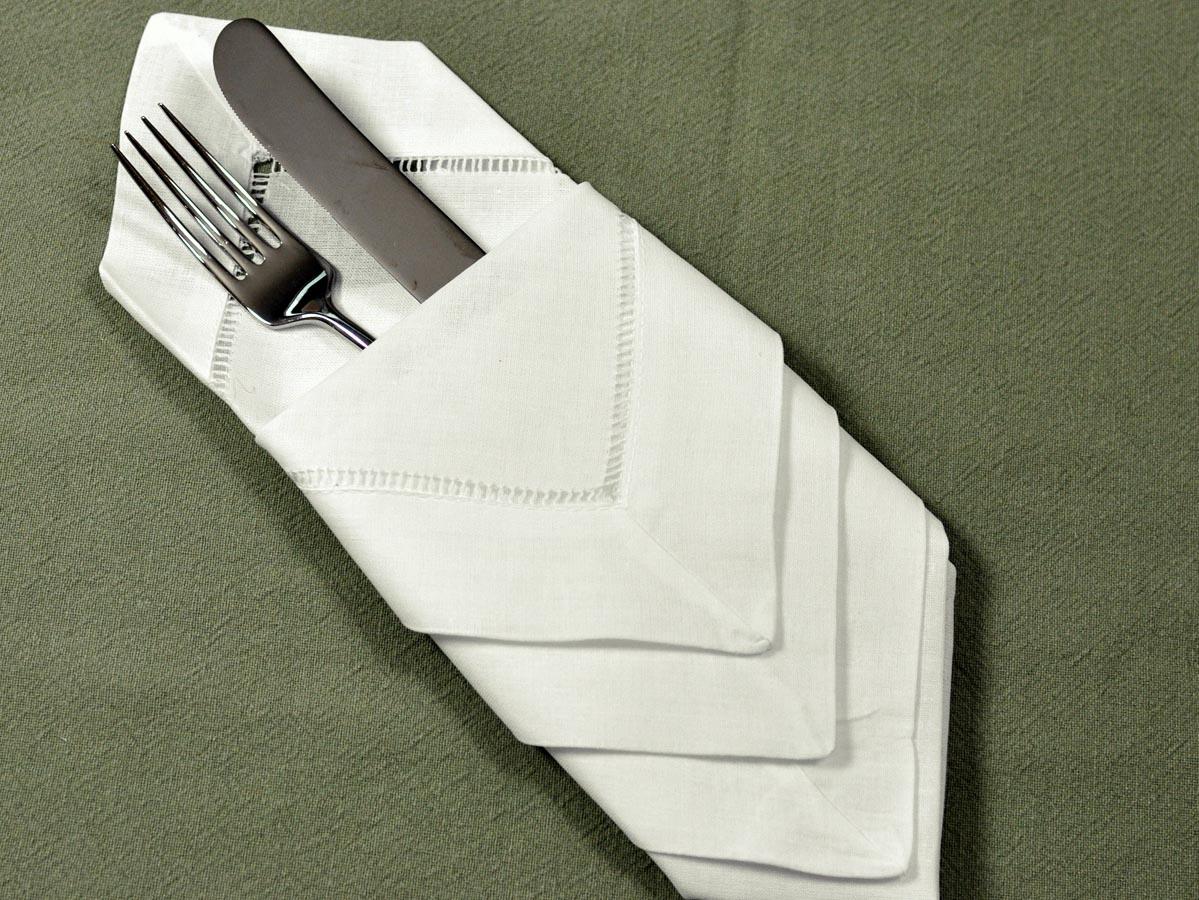 1 dozen ivory hemstitched linen dinner napkins 18 inch