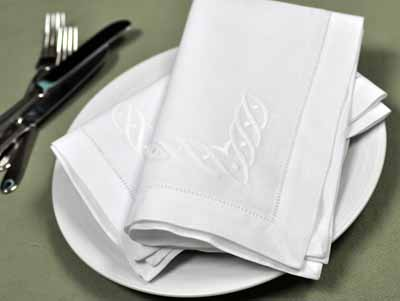 1 Dozen White Linen Dinner Napkins with a Wave Design
