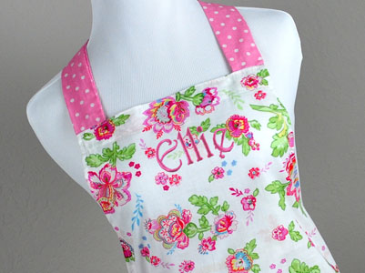 Vintage Inspired Pink Floral Full Length Hostess Apron