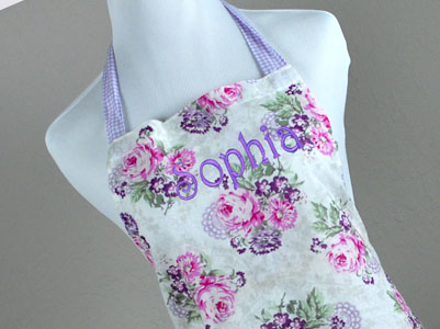 Vintage Inspired Purple Gingham and Pink Hostess Apron