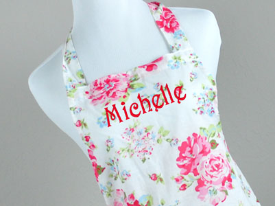 Vintage Inspired Romantic Sweetheart Floral Hostess Apron