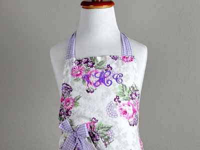 Vintage Inspired Purple and Pink Kids Apron