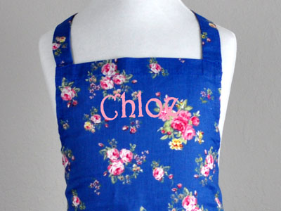 Mother and Daughter Blue Roses Apron Set