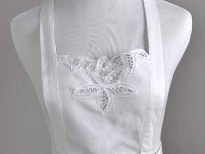 Royal Battenburg Lace Full Length Hostess Apron