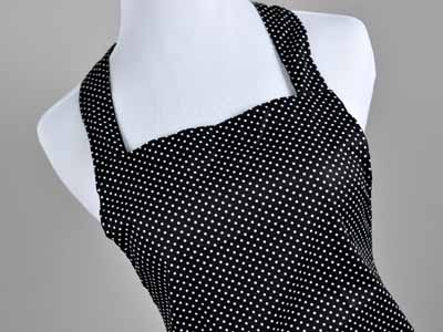 Ladies Sizzling Black and White Polka Dot Hostess Apron