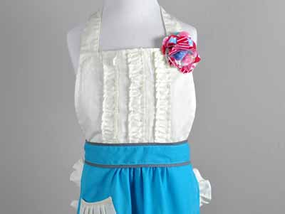 Childrens Sassy Teal and Cream Ruffle Apron
