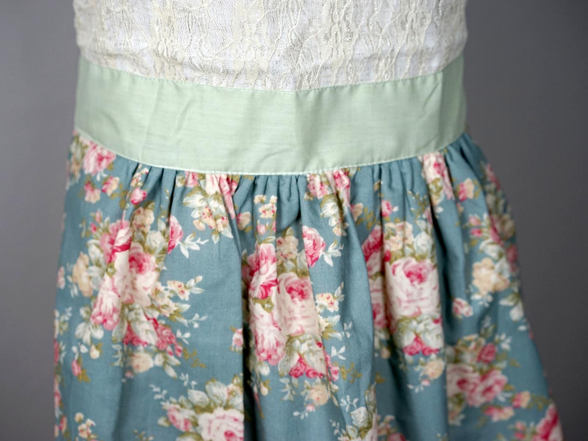 Vintage Inspired Stormy Blue Lace Hostess Apron