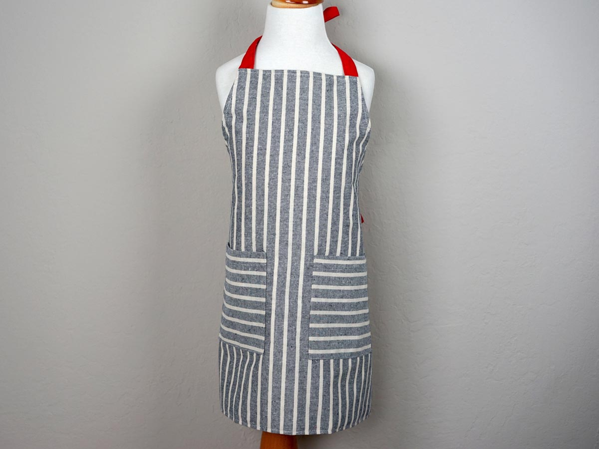 Striped Denim Kids Apron with Red Ties