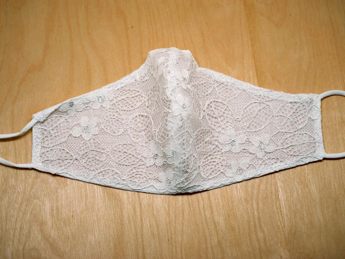 White Lace Bridal Cloth Face Mask