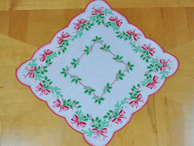 Vintage Inspired Holiday Holly Bows Print Hankie