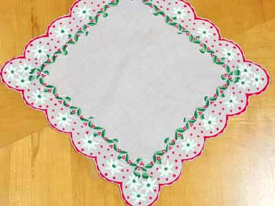 Vintage Inspired Holiday White Poinsettia Print Hankie