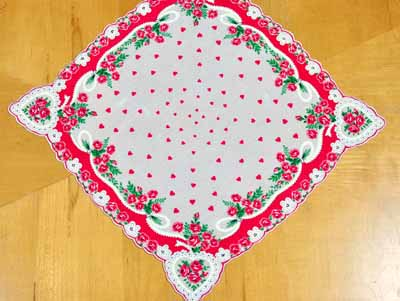 Vintage Inspired Hearts and Roses Print Hankie
