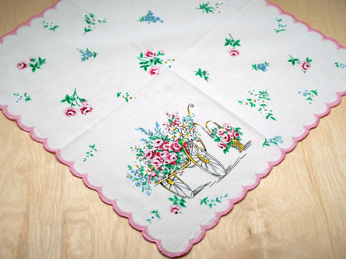 Vintage Inspired Flower Cart Print Handkerchief