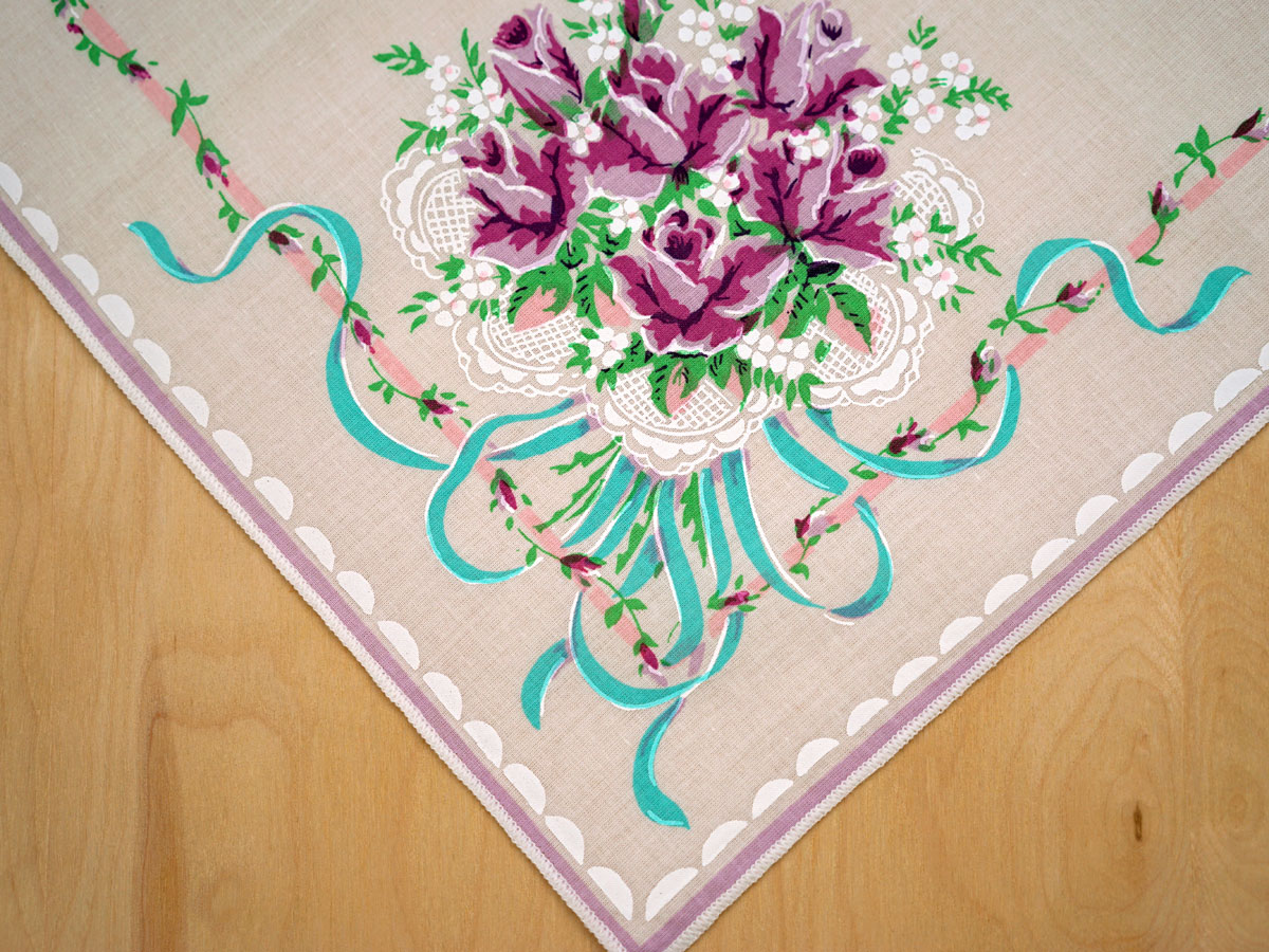 Vintage Inspired Purple Rose Bouquet Printed Hankie