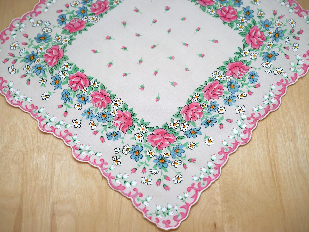 Vintage Inspired Meadow of Flowers Print Hankie