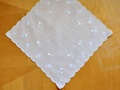 White Tulip and Daisy Scallop Wedding Handkerchief