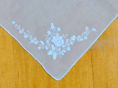 Set of 3 White Roses Wedding Handkerchiefs