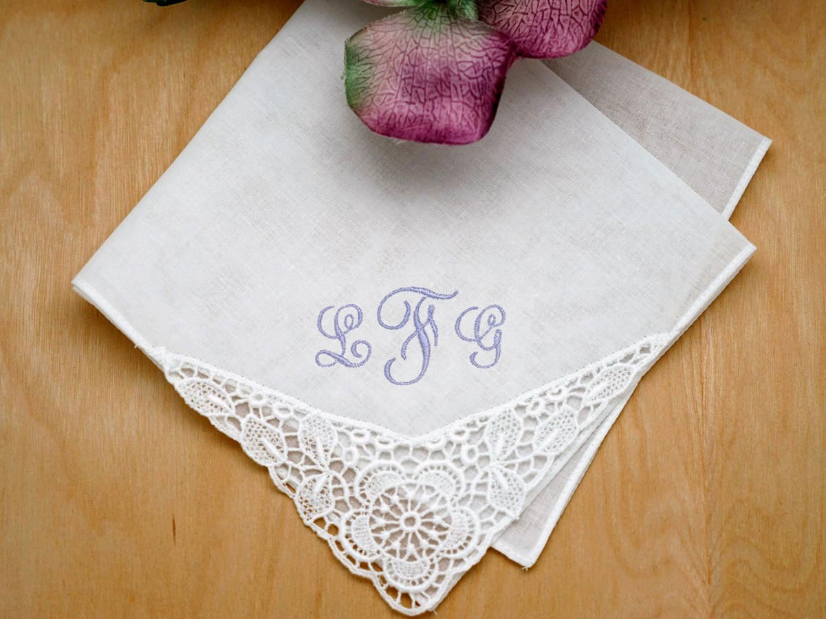 Floral German Guipure Lace Ladies Handkerchief