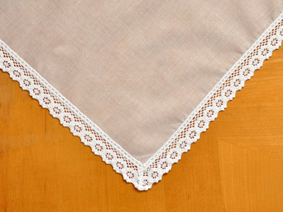 Set of 3 Daisy Tip Lace Wedding Handkerchiefs