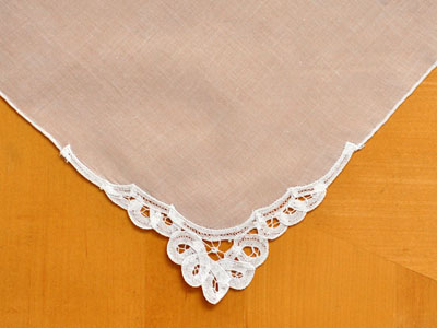 Set of 3 Battenburg Lace Loop Corner Handkerchiefs