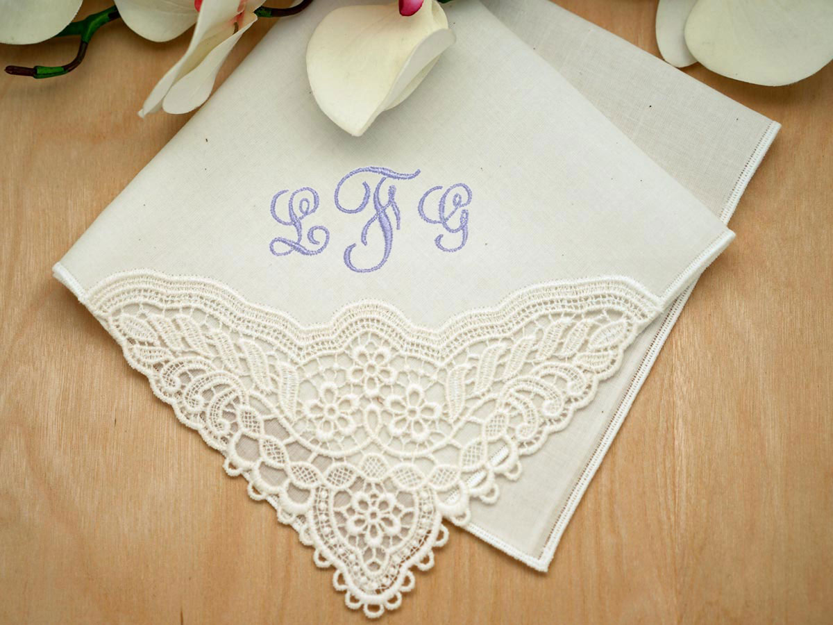 Ivory Daisy Corner German Plauen Lace Ladies Handkerchief